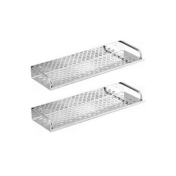 SBD Multi Purpose Stainless Steel Shelf (15X4.5) Inch Chrome Finished (Pack Of 2)
