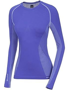 SALEWA Ortles Dry W L/S Tee - Camiseta manga larga para mujer, color azul, talla 46/40