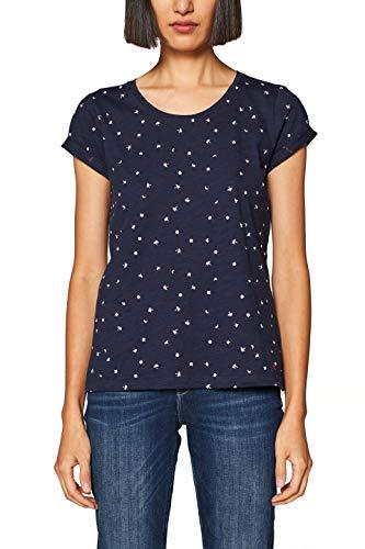 edc by ESPRIT Damen T-Shirt 999CC1K803, Blau (Navy 400), X-Large (Herstellergröße: XL)