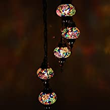 Impresionante Lámpara Colgante De Mosaico Turco, Lámpara Colgante Estilo Candelabro En Hélice De Mosaico Multicolor Turco Estilo Marroquí Hecha A Mano Con 5 Globos Tamaño Mediano.