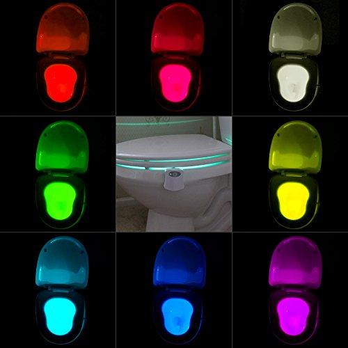 WC Nachtlicht Motion Sensor - Batteriebetrieben - LED 8 Farben Wechsel
