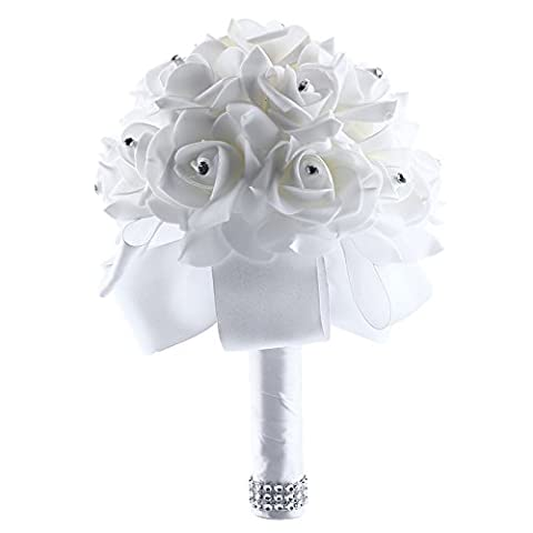 Bride Bouquet£¬Soledi White Crystal Roses Pearl Bridal Bridesmaid Wedding Bouquet Artificial Flowers