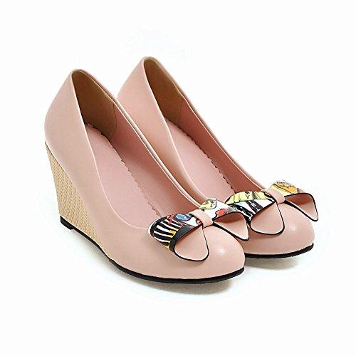 Mee Shoes Damen runde Schleife Keilabsatz Pumps Pink