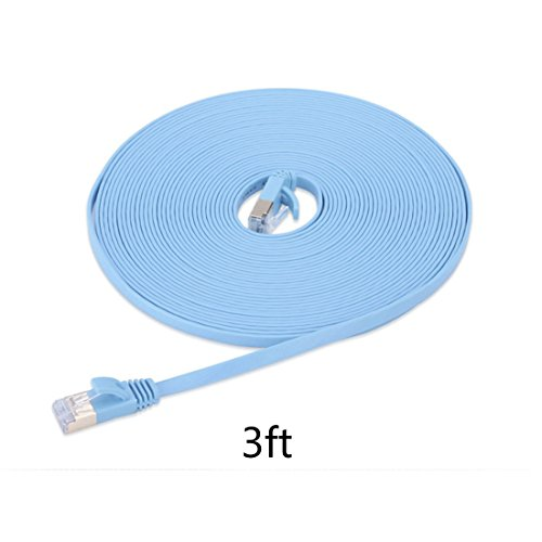 1.0m (meter) Cat.6 flaches Ethernet Gigabit Lan Netzwerkkabel (nach oben / unten kompatibel) / Breitbandkabel | Patchkabel / Flachkabel | 2 RJ-47 Stecker | Stecker mit Biegeschutzmantel | Farbe: blau Mediabridge 6 Füße