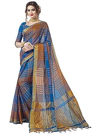 Glory Sarees Women's Silk Saree(CheckedSilk101blue_blue)