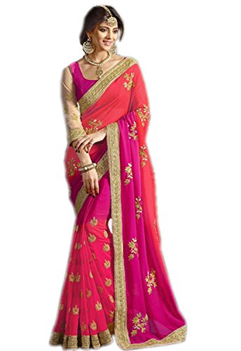 Ambika Sarees Collection Embroidered Pink-Coding Georgette Saree With Blouse Material