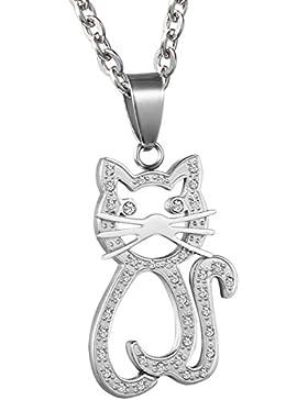 Oidea Damen Halskette mit Anhänger, Edelstahl süße Kätzchen Katze Anhänger mit 55cm Kette Halsband, Silber