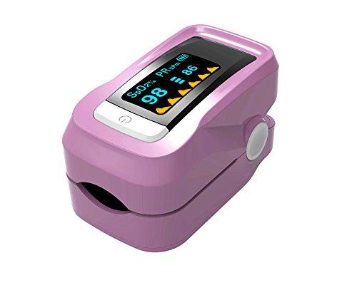 Oximeter, Pulsoximeter Fingeroximeter Alarm Pulston Sauerstoffsättigung,für präzise Sport Herzfrequenzmesser mit tragbarer Umhängeband und Tasche,für Kinder Erwachsene-Rosa