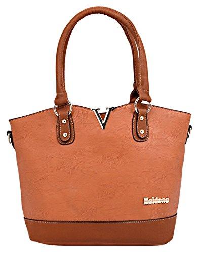 Kukubird Strutturato In Ecopelle Con Metallo 'V' & Logo Dettaglio Tote Handbag Yellowish Brown