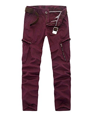 Uomo Cargo Pantaloni Adulti Lungo Pantaloni da Lavoro Sportivi Jogger Pantaloni Calzoni con Multi Tasche All'aperto Fuchsia