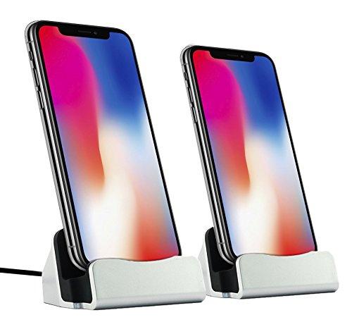 Wecker Ipod Lightning Dock (MyGadget 2x Dockingstation Ladestation für das Apple iPhone - Dock (mit 1m Kabel) Stand Station Ladegerät für X 8 7 6s Plus 5s SE, iPod nano 7, 5G in Silber)
