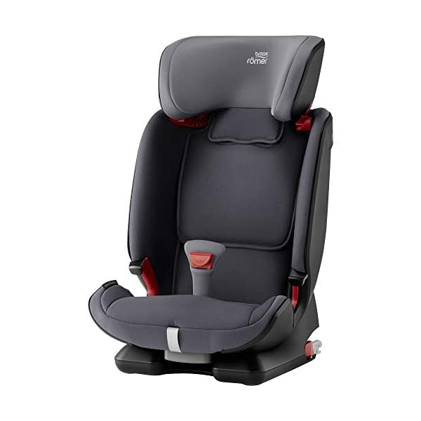 Britax Römer ADVANSAFIX IV M Group 1-2-3 (9-36KG) Car Seat- Storm Grey Britax Römer Our patented pivot link isofix system directs the force first downward into the vehicle seat, and then forward more gently - greatly reducing the risk of head and neck injury for your child We believe that a 5-point harness is the safest way to secure your child in a car seat because it keeps your child safe and tight in the seat's protective shell Soft neoprene performance chest pads fit comfortably on your child's chest. They help reduce your child's movement in the event of a collision, and add even greater comfort to the 5-point harness 2