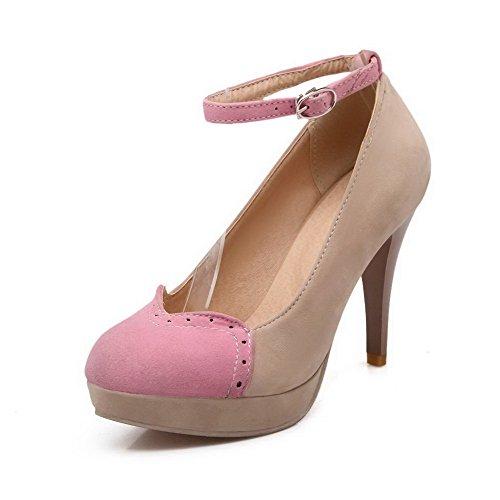 AllhqFashion Damen Mattglasbirne Schnalle Rund Zehe Hoher Absatz Pumps Schuhe Cremefarben