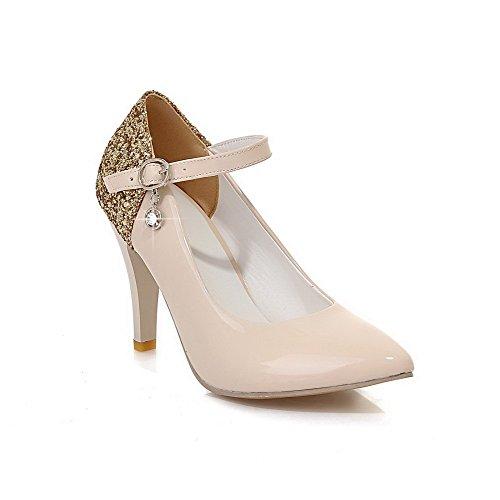Odomolor Damen Pu Leder Hoher Absatz Spitz Zehe Gemischte Farbe Schnalle Pumps Schuhe, Cremefarben, 37