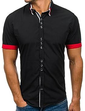 BOLF Hombre Camisa Del Ocio Mangas Cortas Camisa Clásico Slim Fit 2B2 Casual