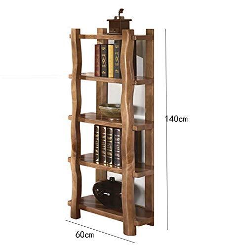 Massivholz Bücherregal Regale Multi-Funktion Antique 5-Schicht-Bücherregal Kiefer Boden Speicher-140 * 60CM -