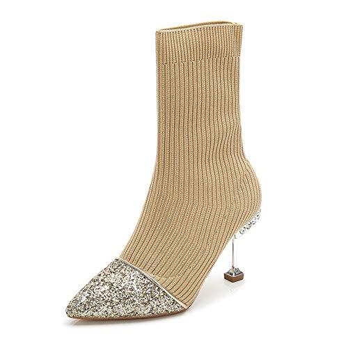 ailletten Booties Herbst und Winter Slim Stitching Enge Wolle Stiefel wies schlanke hohe Katze Ferse Socken Stiefel, Aprikose, 34 ()