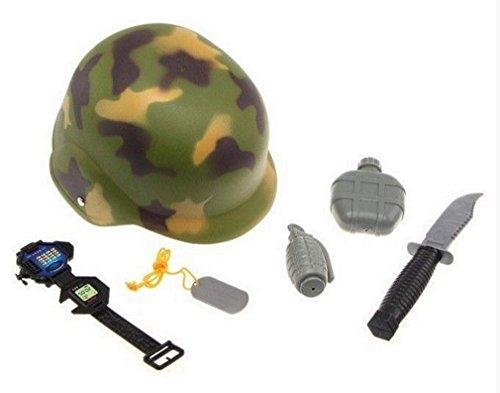 Militärische Verkleidung 6 Zimmer 1 Helm Dolch 1 1 gourde 1 Granatapfel 1 Platte 1 zeigt PVC-Material khaki und schwarz ab 7 Jahren Standards, die