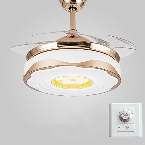 TXDZ Ventiladores de techo invisibles con lámpara LED, lámpara de control de...