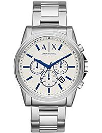 Armani Exchange Outerbanks - Reloj análogico de cuarzo con correa de acero inoxidable para hombre, color plata/blanco
