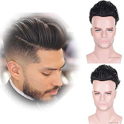 auspiciouswig natürliches Echthaar Stück Herren Toupet Ersatz Perücken Thin Skin System für Herren 25,4 x 20,3 cm (natürlicher farbton)