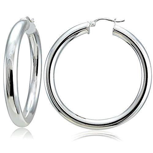 Miami Jewellery Piercing Silver Hoop Earrings for Men Boys/Boyfriend/Mens (2 PCS) - BALI-144