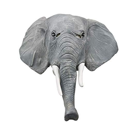 JUNMAONO Unisex Novedad Linda máscara de látex Cabeza Fiesta de Halloween Decoraciones de Disfraces Animales Adultos COS Maquillaje Animal Show Máscara De Elefante Gris