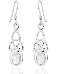 DTPSilver - 925 Sterling Silver and Moonstone Celtic Knot Earrings - Post and Butterfly backs