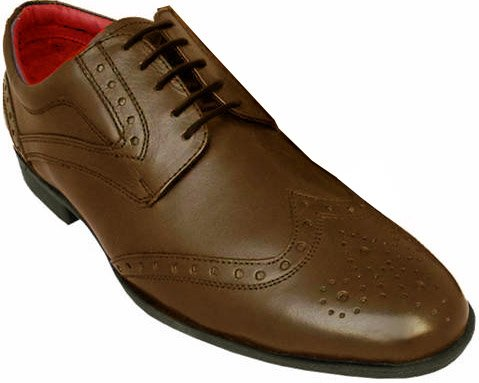 Brown Leather Brogue Lace Up Shoes 9