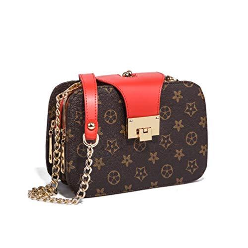 Mode Druck Handtaschen Messenger Kette kleine quadratische Tasche Schultertasche Geldbörse (Farbe : Rot, größe : 19 * 7 * 12cm)