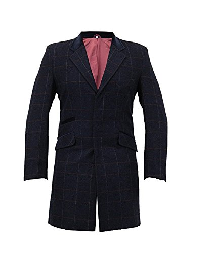 Herren Wolle Mix Slim Fit kariert Coat Herringbone Tweed Crombie Luxus Mantel Gr. M (96 - 102 cm), Blau - Navy Check -