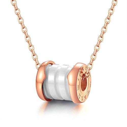 Onefeart Edelstahl Halskette Unisex Anhänger mit Schwarz Keramik Entwurf Römische Zahl 10x9MM Rose Gold
