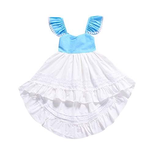Pwtchenty baby Kleid Sommer Lang, Mädchen Kleid Spitze Rüschen Kleider Ärmellos Hohl Prinzessin Kleid Sommerkleid Strandkleid Outfit Kleidung - Carters Striped Body