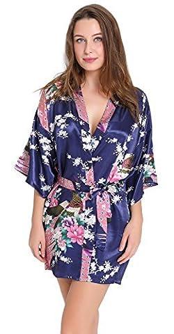 Aibrou Kimono Robe de Chambre Chemise de Nuit Femme Fleurs Paon sous vêtements (X-Large, Bleu Foncé)