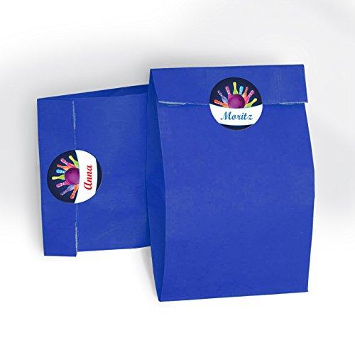 12 blaue Geschenktüten + 12 Aufkleber
