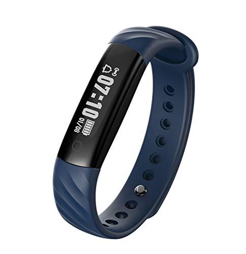 HHRONG Fitness-Tracker, Bluetooth-Schrittzähler mit Schlafmonitor Farbbildschirm, kompatibel mit Android oder iOS-Blue - Training-bewegung Apple Pro
