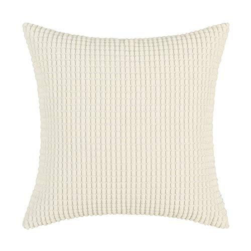 Cosanter tinta unita semplice con chiusura a zip–federa per cuscino 45x 45cm federa per divano letto o divano outdoor living, beige, bianco, 45*45cm