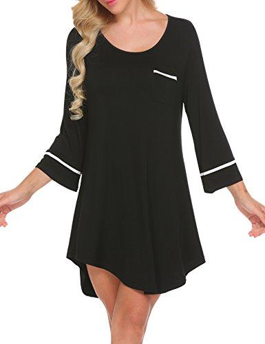 Unibelle Damen Nachthemd mit 3/4 Ärmel (Boyfriend Sleepshirt)