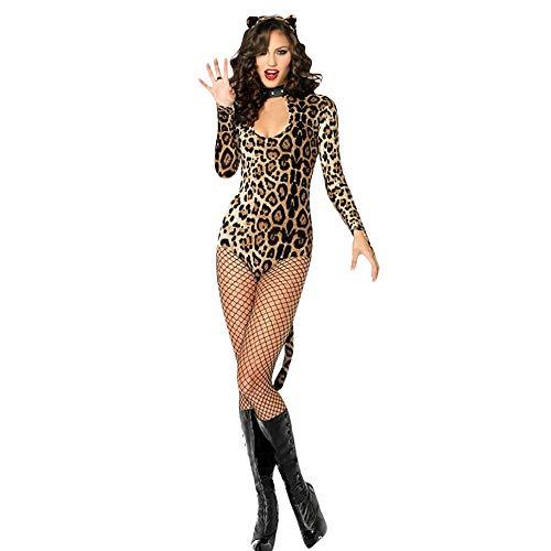 (Mitlfuny Damen Versuchung UnterwäSche,Cosplay Leopard-Druck Catwoman KostüM Der Frauen 3 StüCk Cougar)