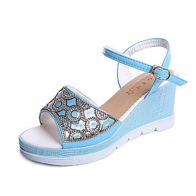 zhENfu Donna Sandali Comfort estivo PU Outdoor cuneo a piedi fibbia tacco blu e bianco Blue