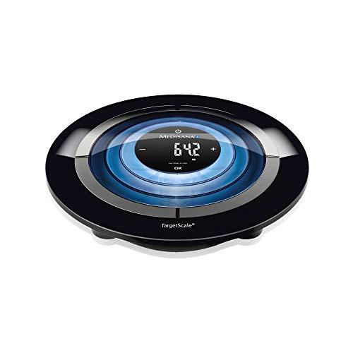 Medisana Target Scale 3.0 digitale Körperanalysewaage bis 180 kg - Messung von Körperfett, Körperwasser, Muskelmasse, Knochengewicht mit Bluetooth App - mit LED-Beleuchtung und Athleten-Modus - 40413