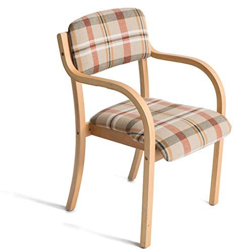 High-dining Patio-möbel (RONG HOME Lounge Chair Kitchen Dining Stool Verhandlungsstuhl Garten Massivholzbeine Arbeitsstuhl Soft Seat mit Armlehnen/Rückenlehnen Waschbar,E)