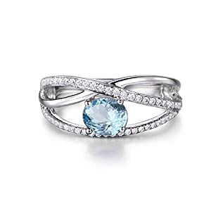 Blisfille 925 Silber Ring Damen Weißgold Ring Blautopas Blau Topas Oval Cut  Blue Silver Bandring Solitärring Valentinstag Größe