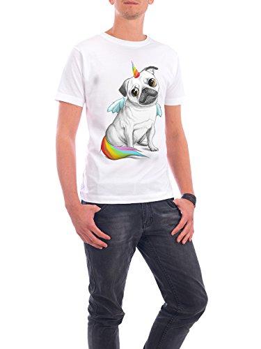 """Design T-Shirt Männer Continental Cotton """"Pug unicorn"""" - stylisches Shirt Tiere Natur Fiktion von Nikita Korenkov Weiß"""