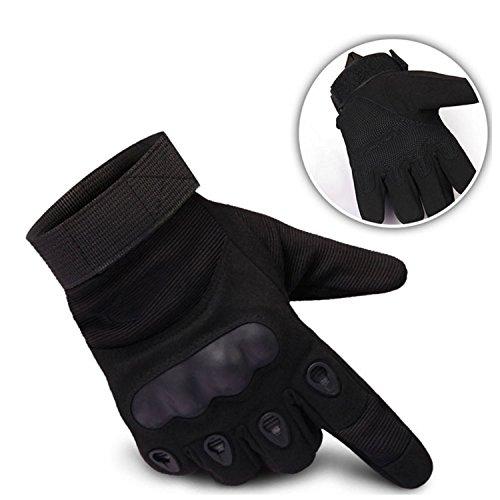 Freiesoldaten Herren-Handschuhe, Outdoor, ganzer/halber Finger, zum Radfahren, Klettern, Training, Fahren, Motorradfahren, taktische Handschuhe L Schwarz