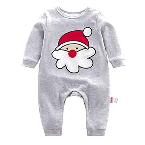 Baby Weihnachtsmann Strampler Baumwoll Overall - hibote Xams Mädchen Jungen Schlafanzug Pyjamas Unisex Kleinkind Outfits Kleidung set 0-3 Monate