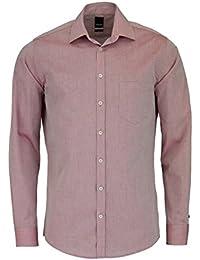 Pure Fashion Fit Hemd Langarm mit Brusttasche Mittelrot