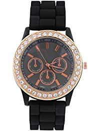 KMS Ring Diamond Women's Black Analog Watches