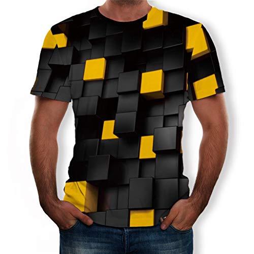 EUZeo Herren Sommer neuen Stil Hässlich 3D Dynamisch Gedruckt kurzen Ärmeln Mode Komfort Bluse Top