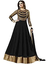 BHUMIK ENTERPRISE Black Colour Georgette Fabric Embroidery And Hand Work Semi Stitched Top With Unstitched Bottom...